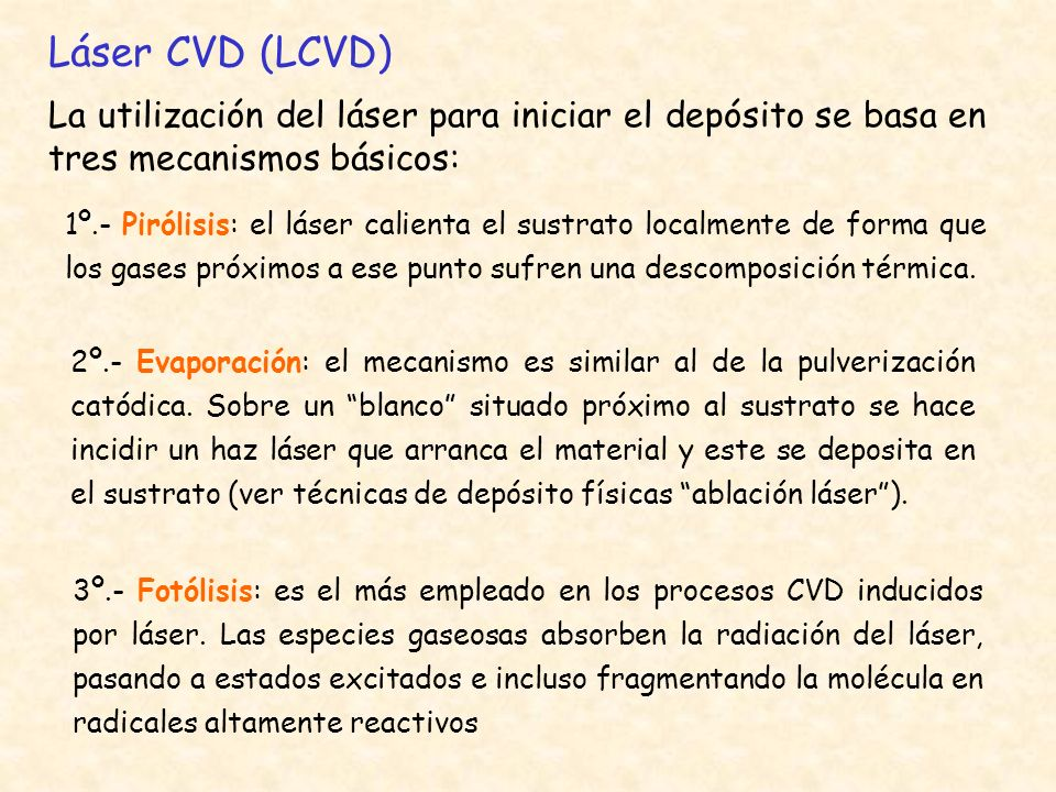 Láser CVD (LCVD)La utilización del láser para iniciar el depósito se basa en tres mecanismos básicos: