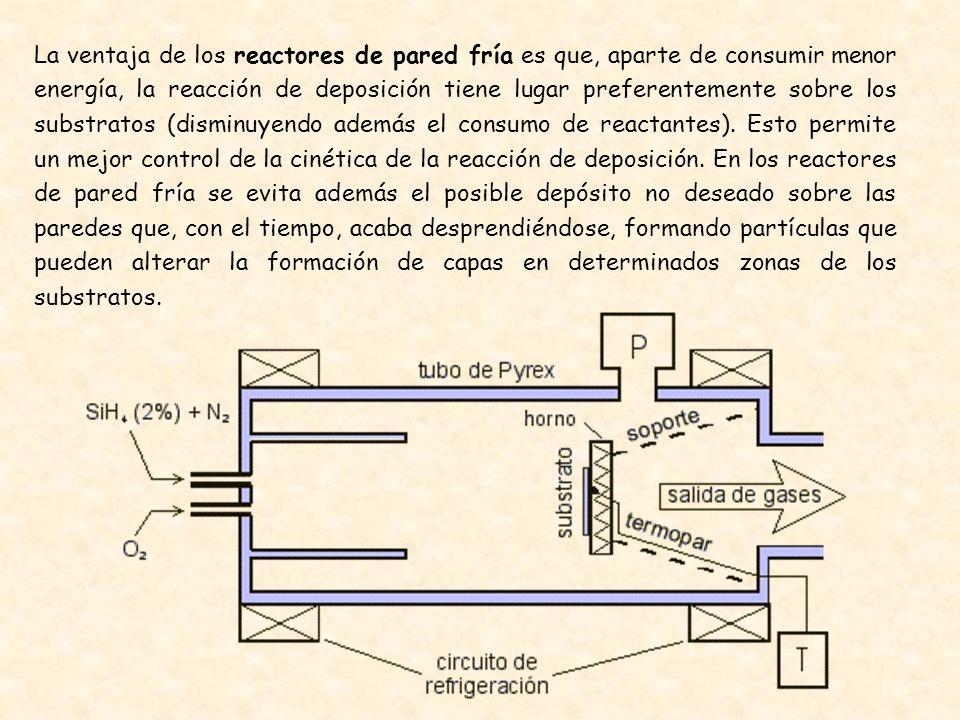 La ventaja de los reactores de pared fría es que, aparte de consumir menor energía, la reacción de deposición tiene lugar preferentemente sobre los substratos (disminuyendo además el consumo de reactantes).