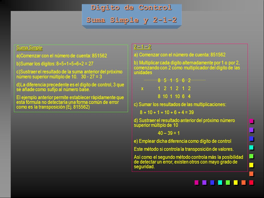 Dígito de Control Suma Simple y 2-1-2