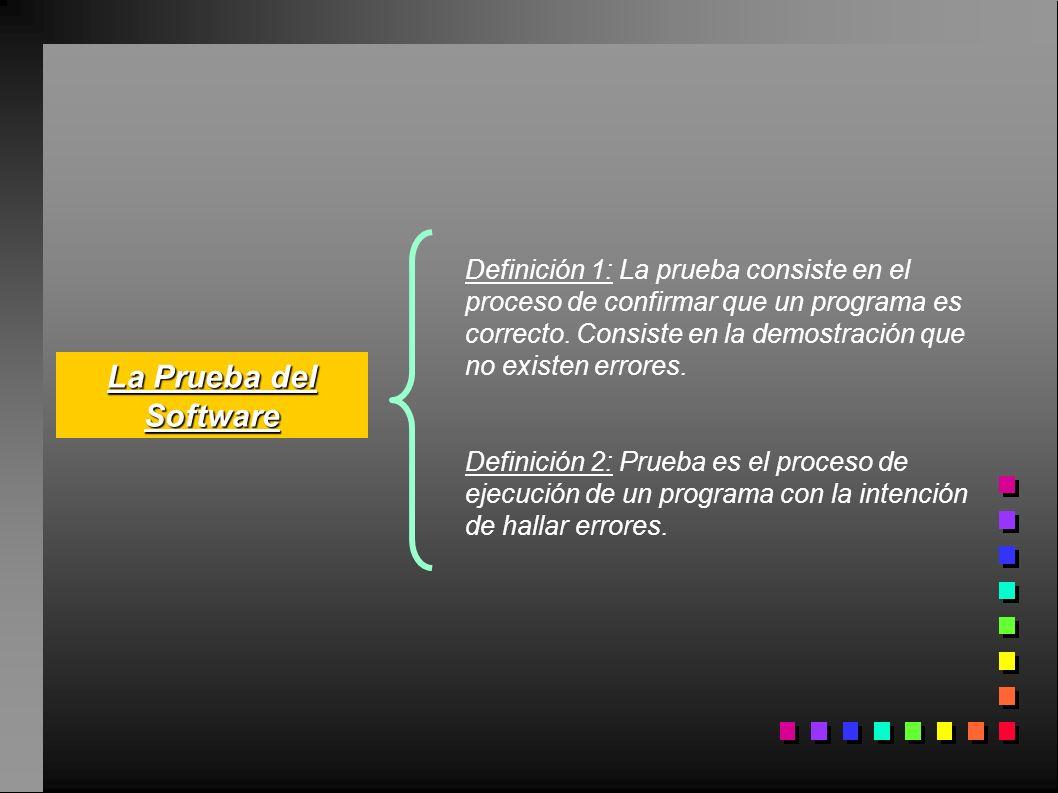 Definición 1: La prueba consiste en el proceso de confirmar que un programa es correcto. Consiste en la demostración que no existen errores.