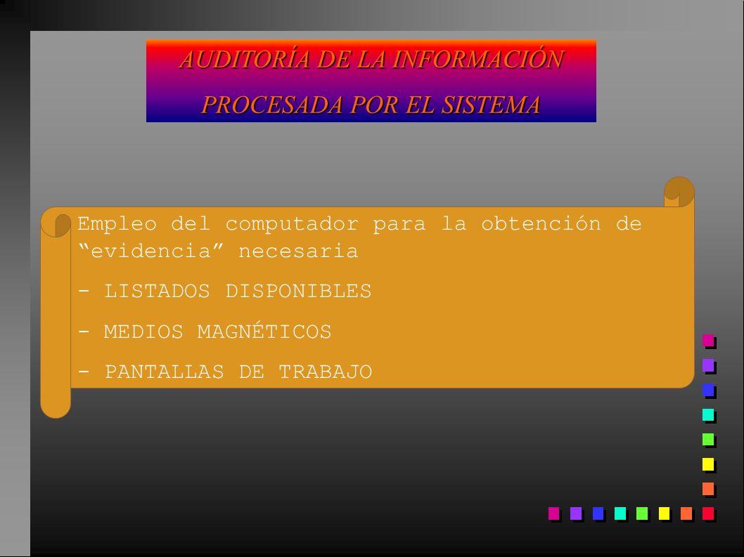 AUDITORÍA DE LA INFORMACIÓN PROCESADA POR EL SISTEMA