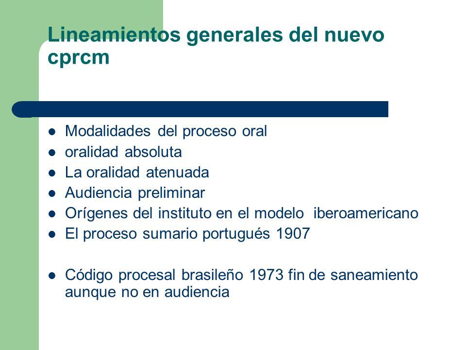 Lineamientos generales del nuevo cprcm