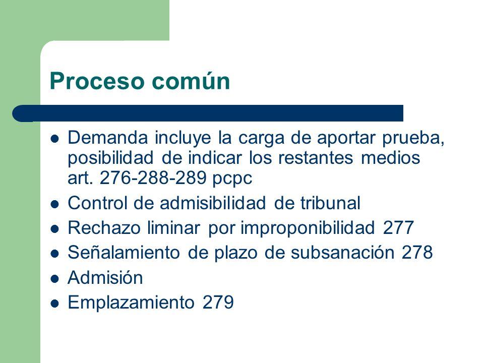 Proceso común Demanda incluye la carga de aportar prueba, posibilidad de indicar los restantes medios art. 276-288-289 pcpc.