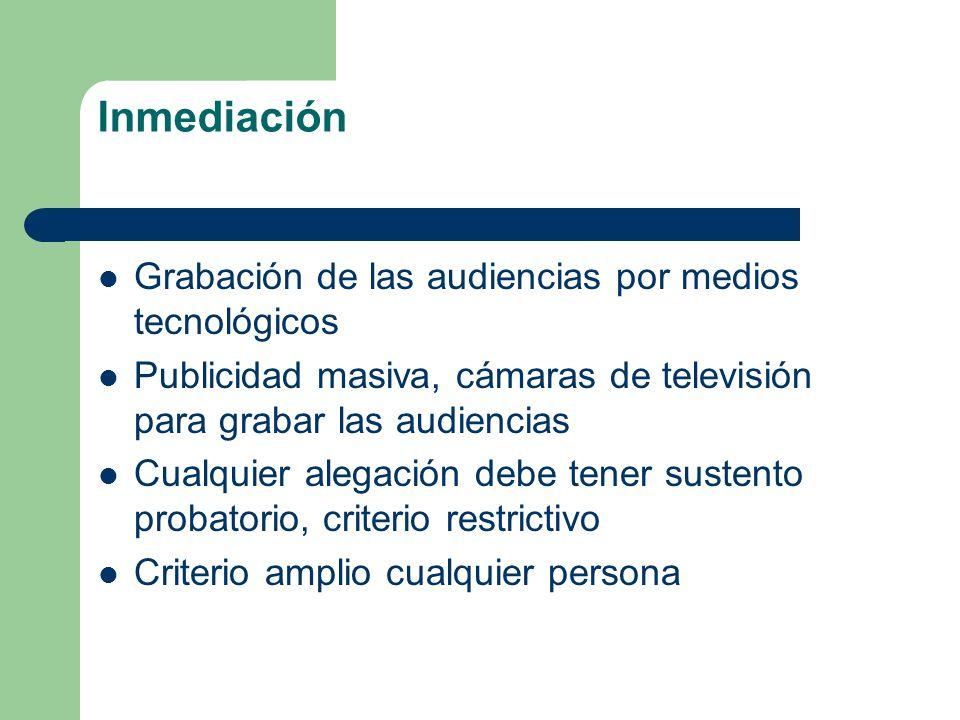 Inmediación Grabación de las audiencias por medios tecnológicos