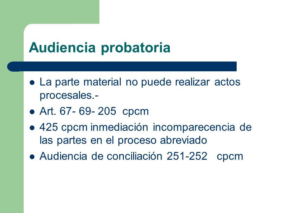 Audiencia probatoria La parte material no puede realizar actos procesales.- Art. 67- 69- 205 cpcm.