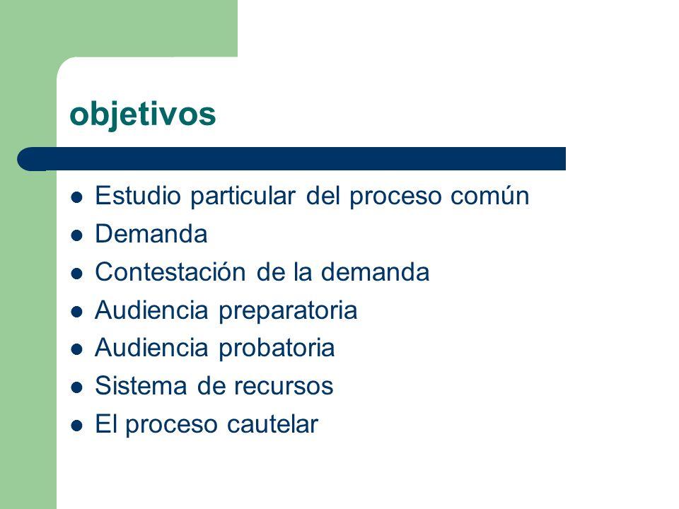 objetivos Estudio particular del proceso común Demanda