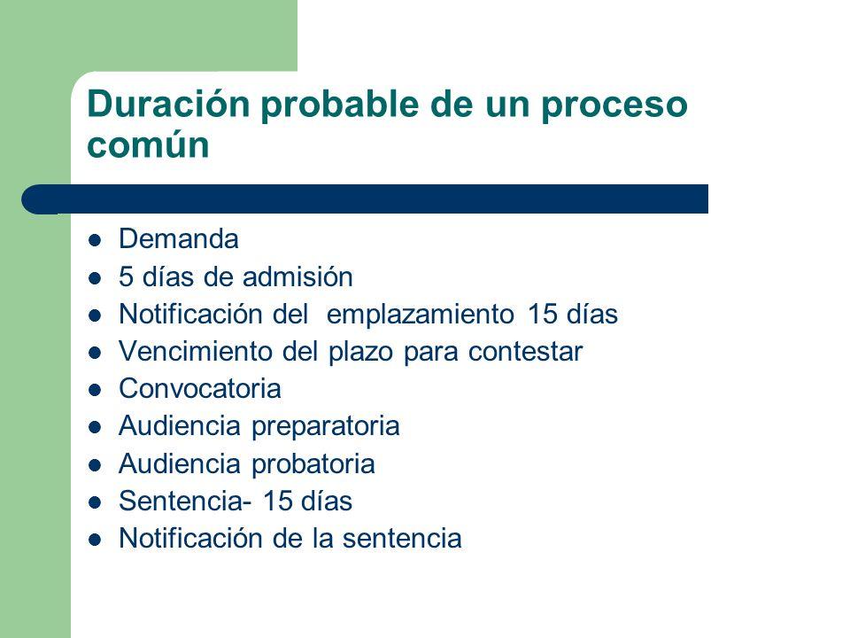 Duración probable de un proceso común