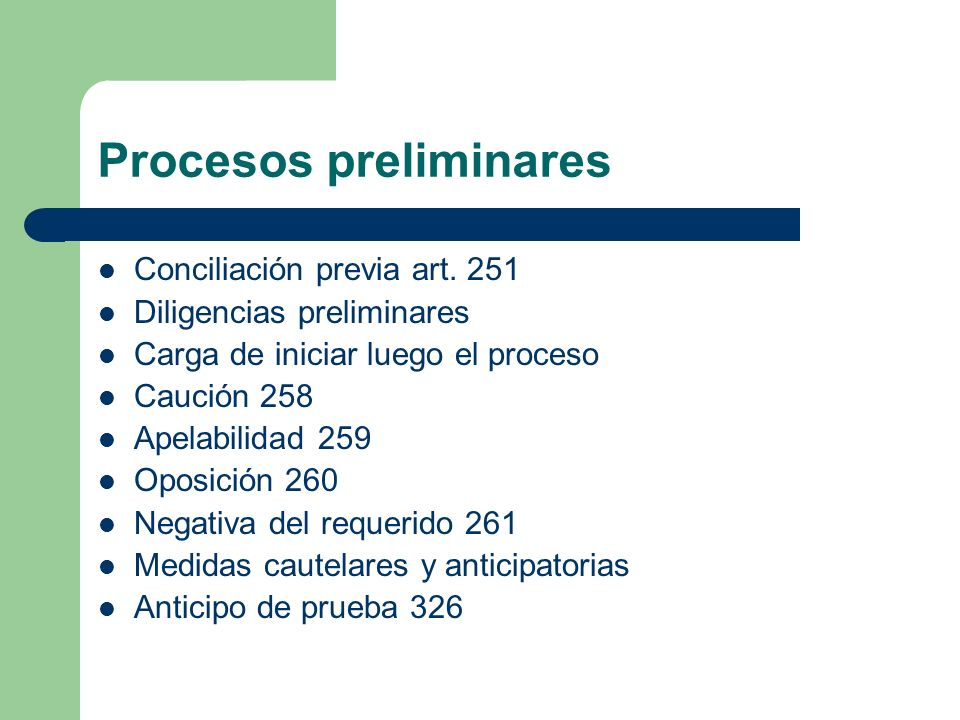 Procesos preliminares