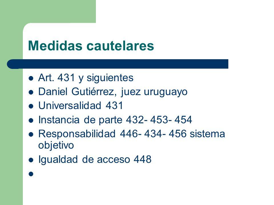 Medidas cautelares Art. 431 y siguientes