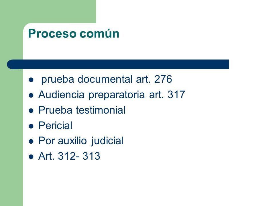Proceso común prueba documental art. 276