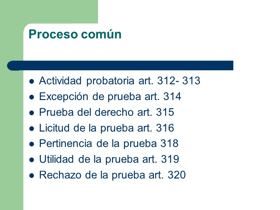 Proceso común Actividad probatoria art. 312- 313