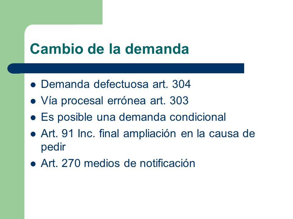 Cambio de la demanda Demanda defectuosa art. 304
