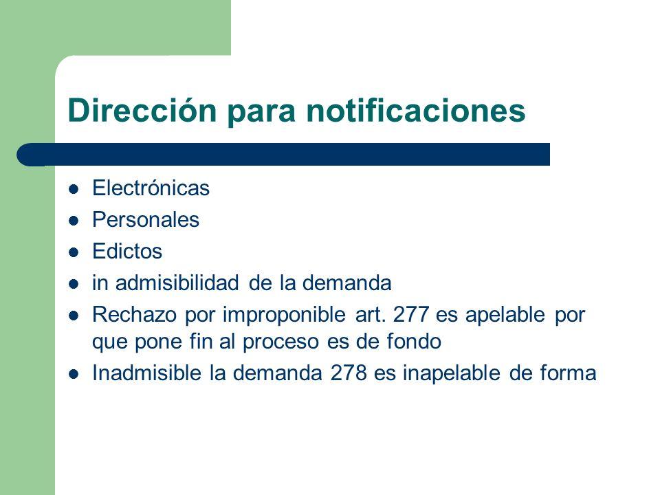 Dirección para notificaciones
