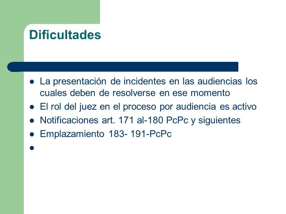 Dificultades La presentación de incidentes en las audiencias los cuales deben de resolverse en ese momento.