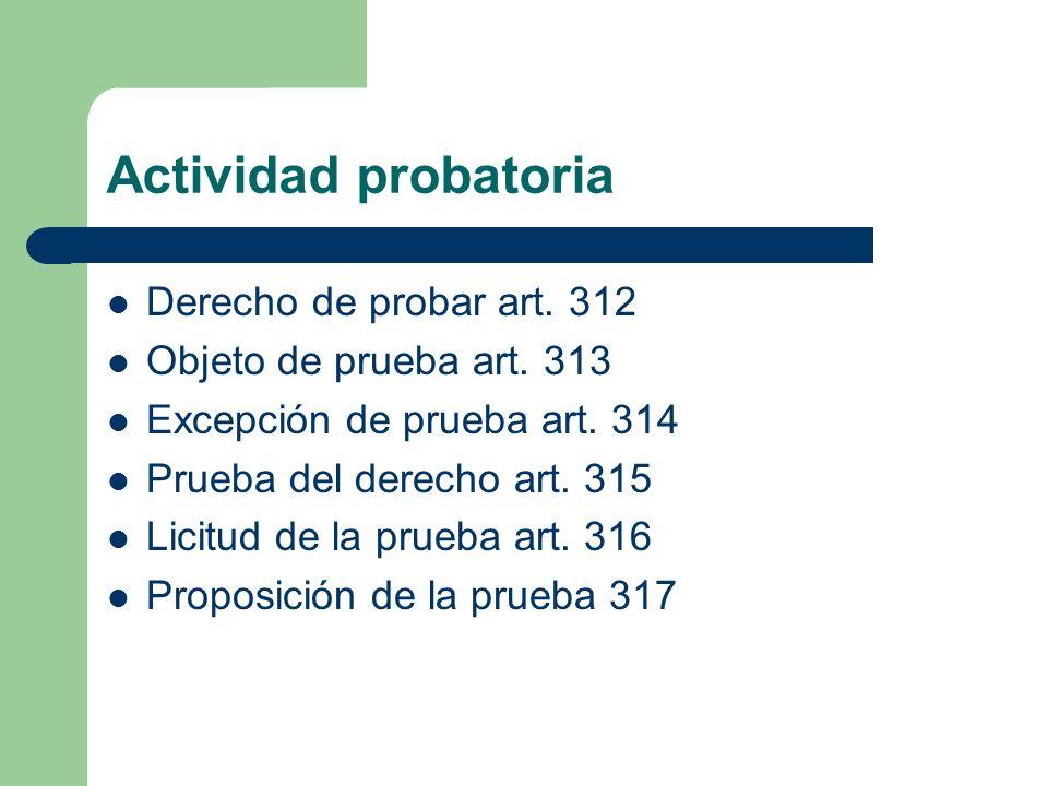 Actividad probatoria Derecho de probar art. 312