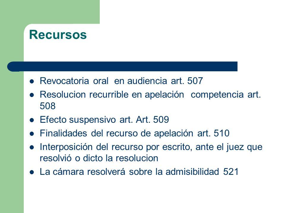 Recursos Revocatoria oral en audiencia art. 507
