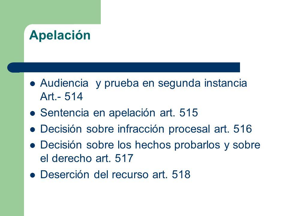 Apelación Audiencia y prueba en segunda instancia Art.- 514