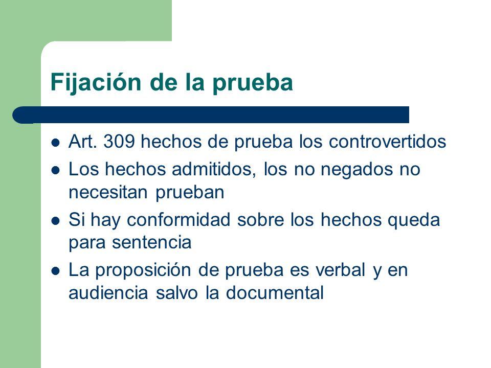 Fijación de la prueba Art. 309 hechos de prueba los controvertidos
