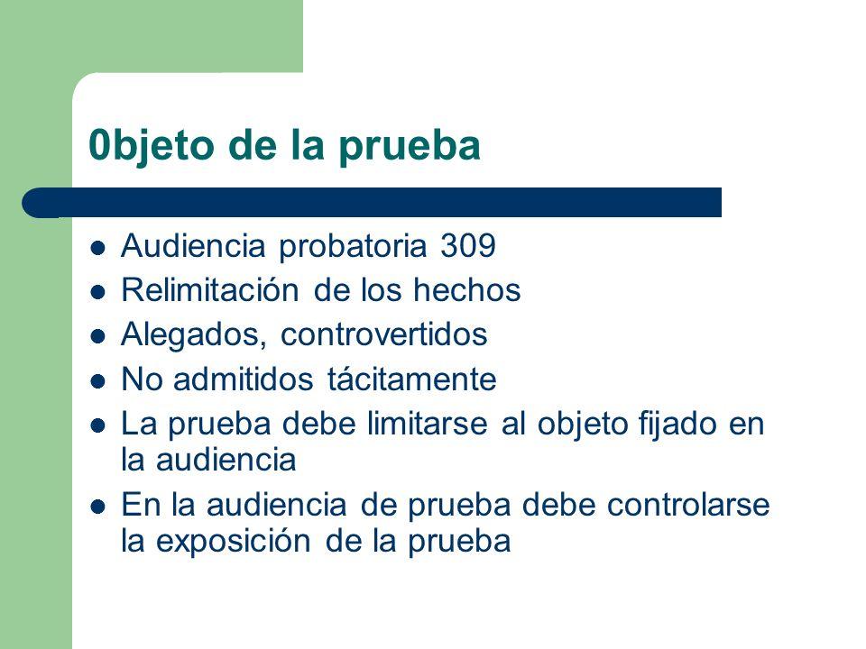0bjeto de la prueba Audiencia probatoria 309
