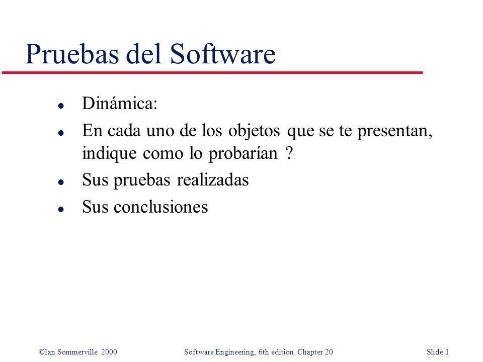 Pruebas del Software Dinámica: