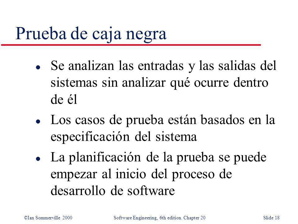 Prueba de caja negra Se analizan las entradas y las salidas del sistemas sin analizar qué ocurre dentro de él.