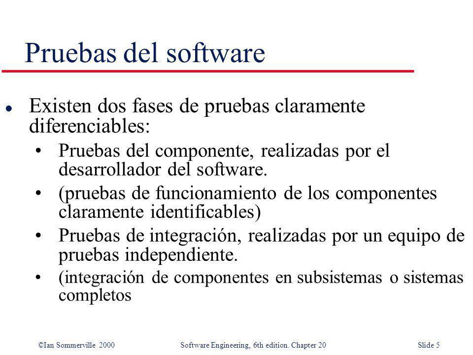 Pruebas del software Existen dos fases de pruebas claramente diferenciables: Pruebas del componente, realizadas por el desarrollador del software.