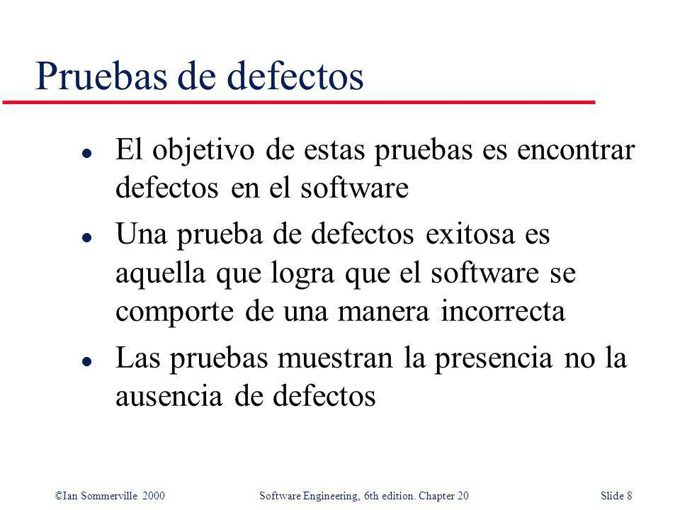Pruebas de defectos El objetivo de estas pruebas es encontrar defectos en el software.