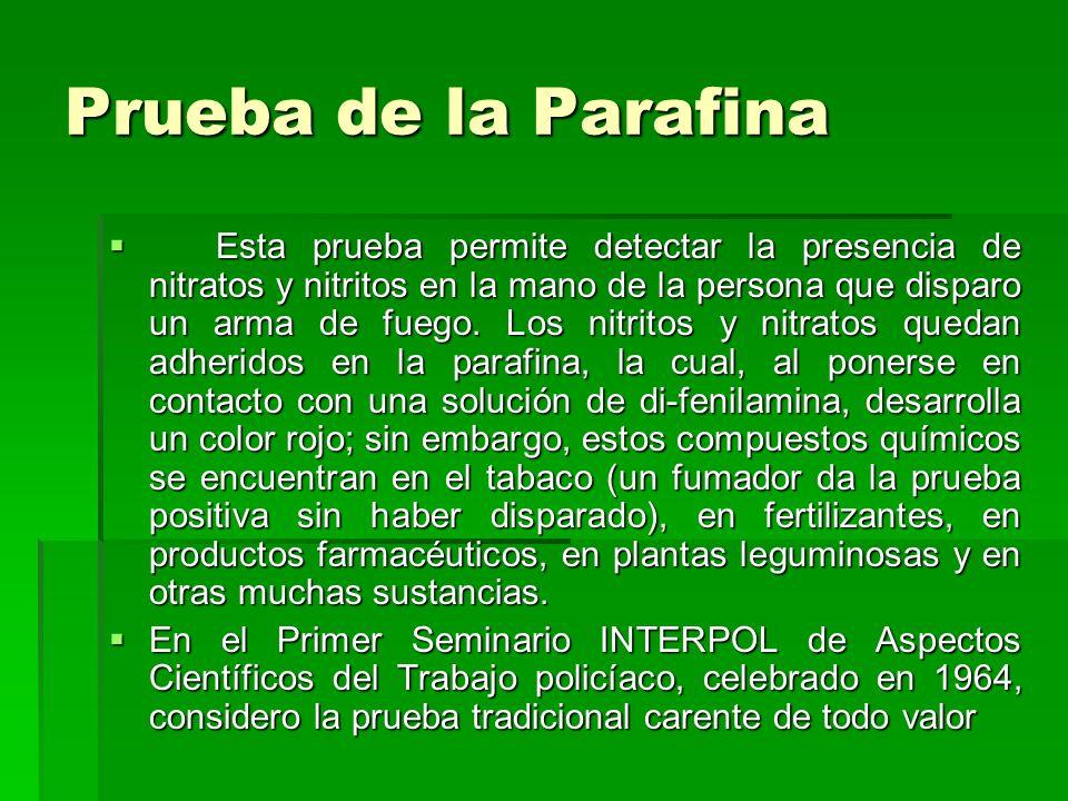 Prueba de la Parafina