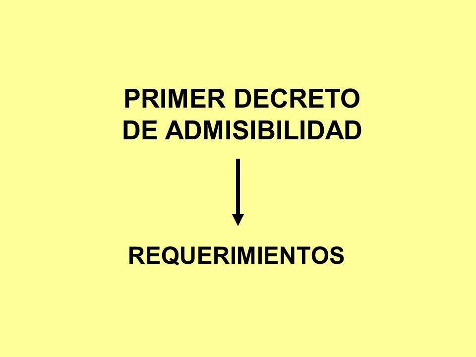 PRIMER DECRETO DE ADMISIBILIDAD