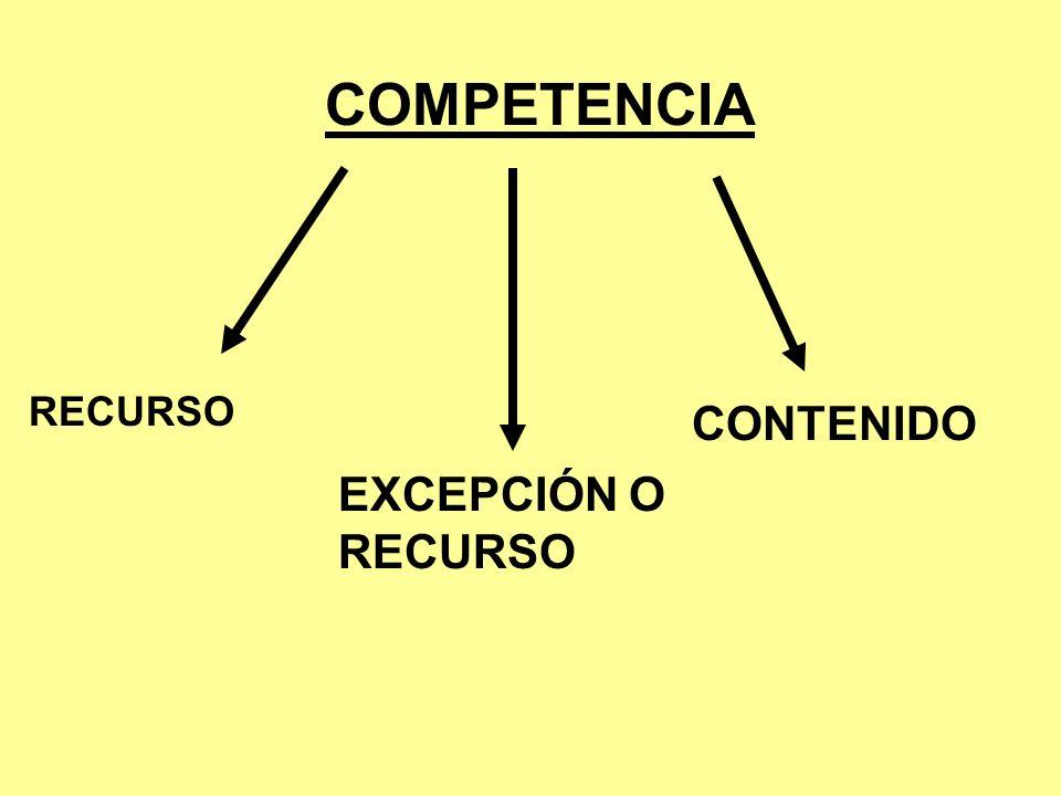 COMPETENCIA RECURSO CONTENIDO EXCEPCIÓN O RECURSO