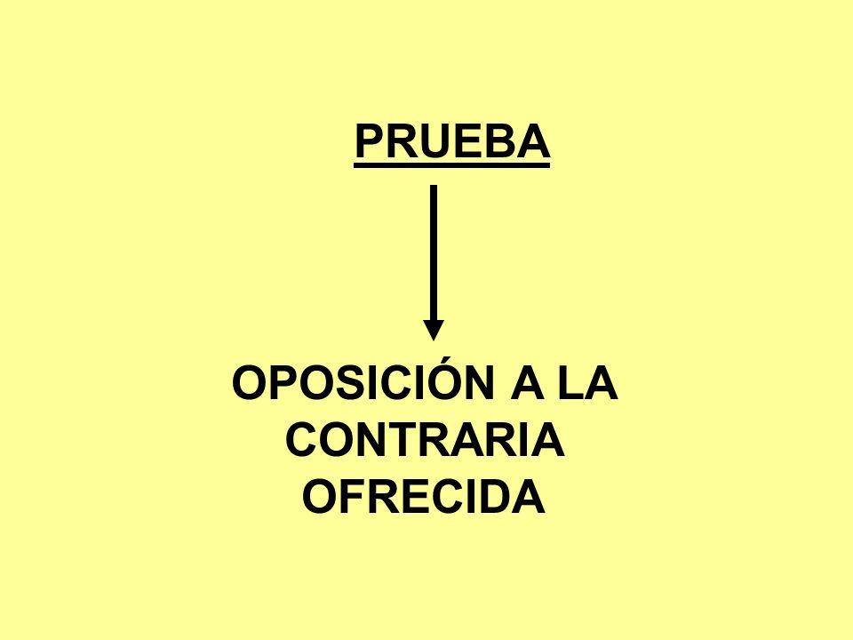 OPOSICIÓN A LA CONTRARIA OFRECIDA