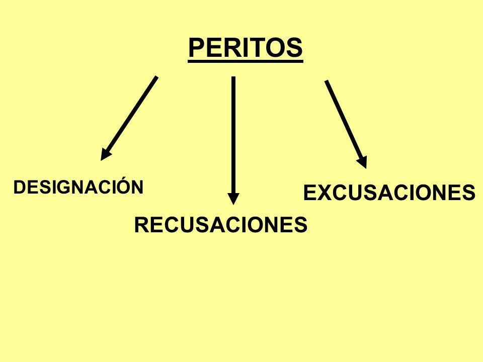 PERITOS DESIGNACIÓN EXCUSACIONES RECUSACIONES