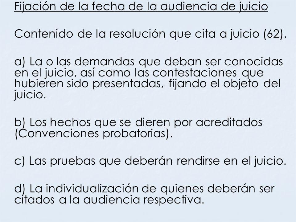 Contenido de la resolución que cita a juicio (62).