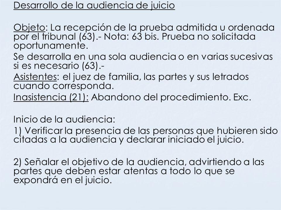 Desarrollo de la audiencia de juicio