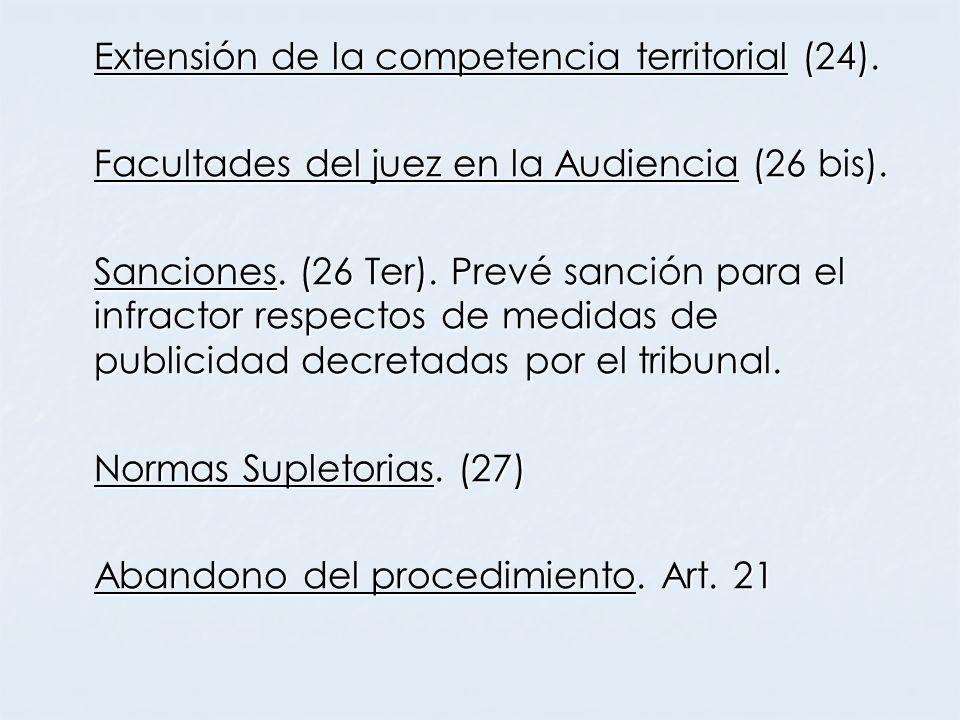 Extensión de la competencia territorial (24).