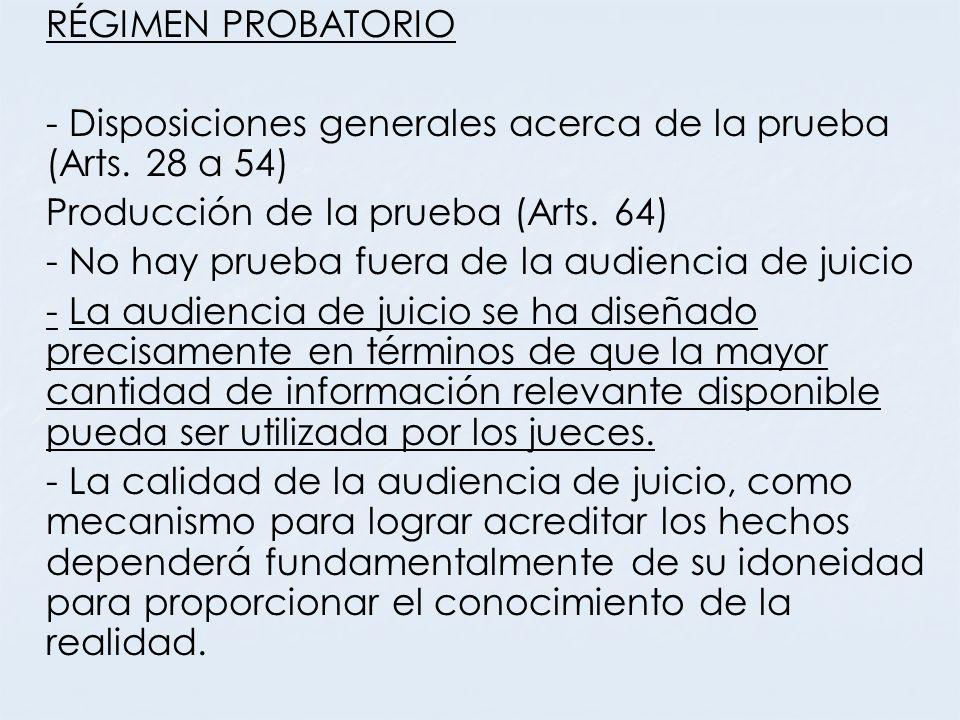 RÉGIMEN PROBATORIO - Disposiciones generales acerca de la prueba (Arts. 28 a 54) Producción de la prueba (Arts. 64)