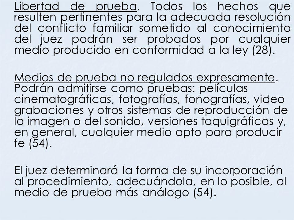 Libertad de prueba. Todos los hechos que resulten pertinentes para la adecuada resolución del conflicto familiar sometido al conocimiento del juez podrán ser probados por cualquier medio producido en conformidad a la ley (28).