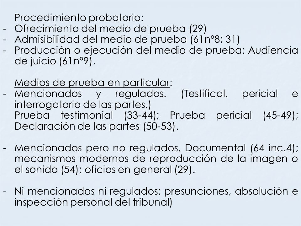 Procedimiento probatorio: