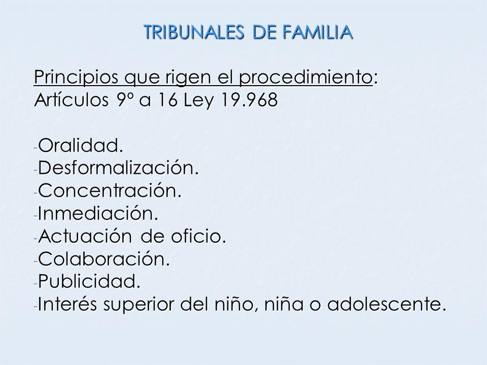 TRIBUNALES DE FAMILIA Principios que rigen el procedimiento: Artículos 9º a 16 Ley 19.968. Oralidad.
