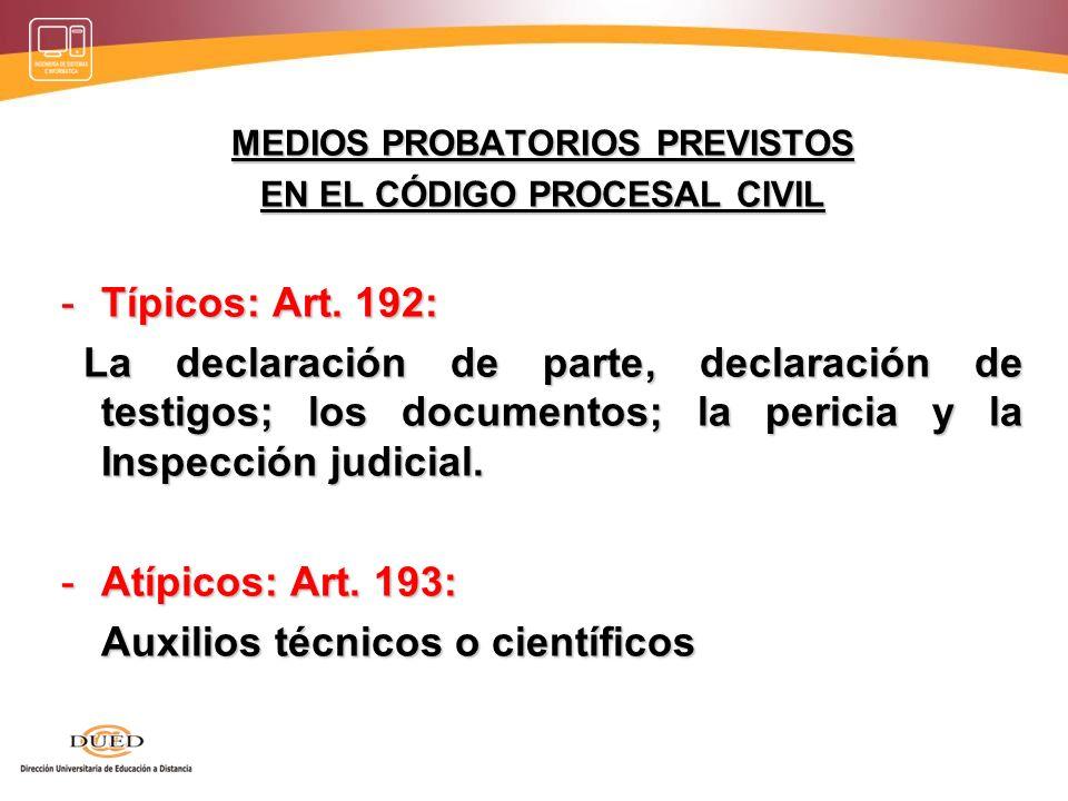 MEDIOS PROBATORIOS PREVISTOS EN EL CÓDIGO PROCESAL CIVIL
