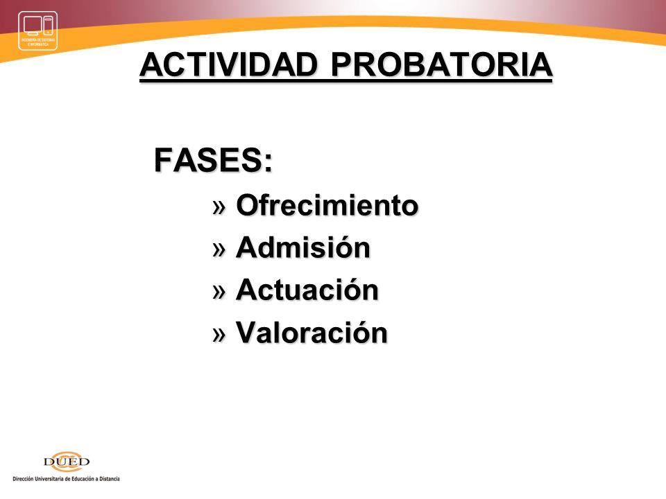 ACTIVIDAD PROBATORIA FASES: Ofrecimiento Admisión Actuación Valoración