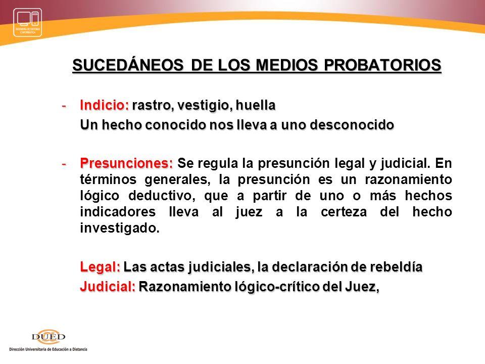 SUCEDÁNEOS DE LOS MEDIOS PROBATORIOS