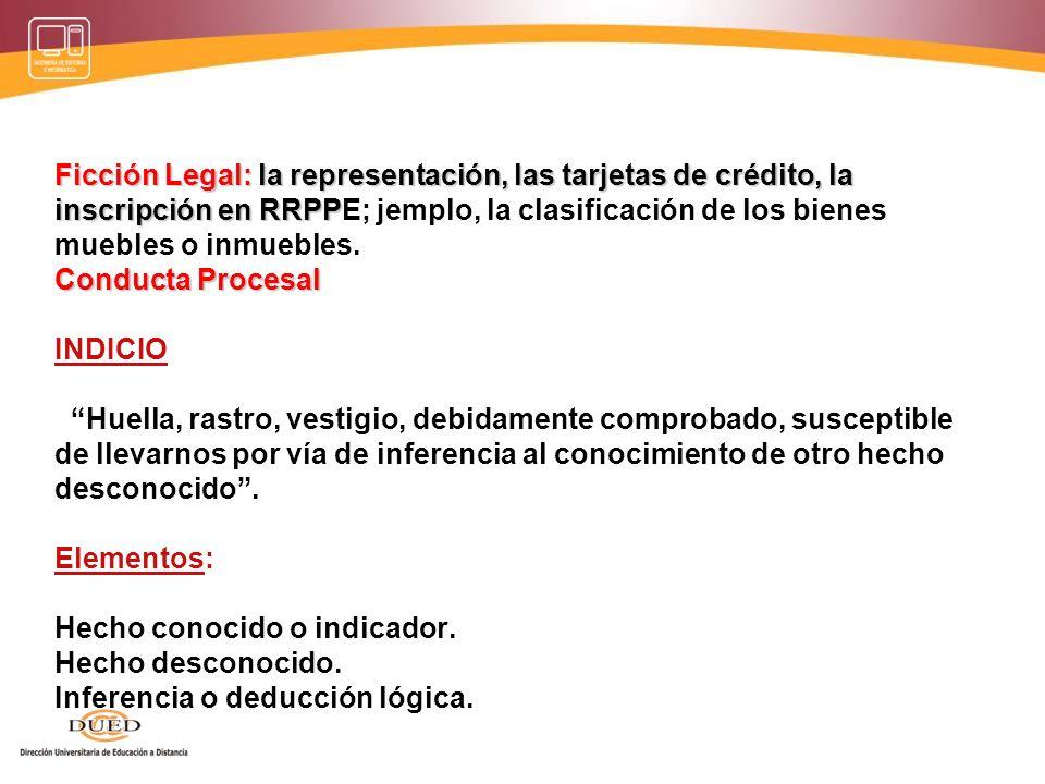Ficción Legal: la representación, las tarjetas de crédito, la inscripción en RRPPE; jemplo, la clasificación de los bienes muebles o inmuebles.
