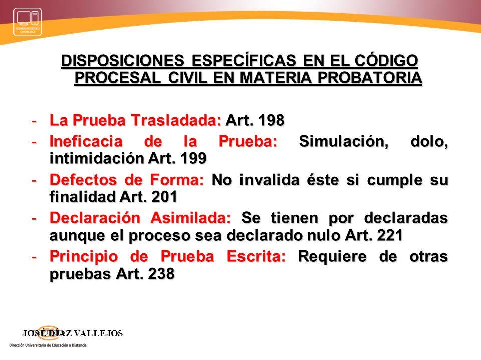 La Prueba Trasladada: Art. 198