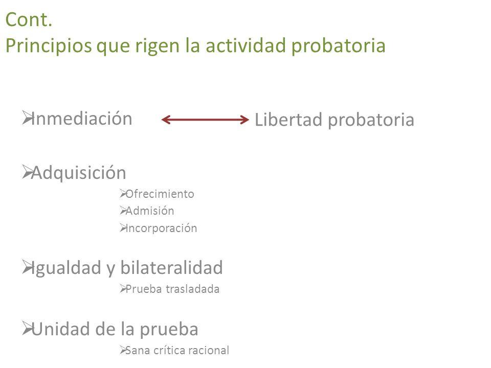 Cont. Principios que rigen la actividad probatoria