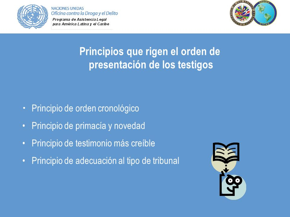 Principios que rigen el orden de presentación de los testigos