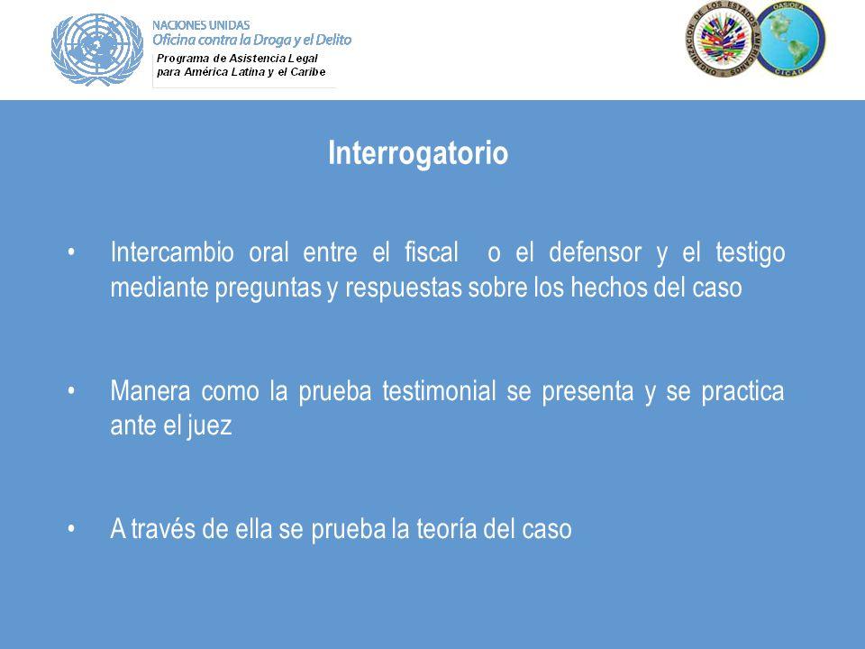 Interrogatorio Intercambio oral entre el fiscal o el defensor y el testigo mediante preguntas y respuestas sobre los hechos del caso.