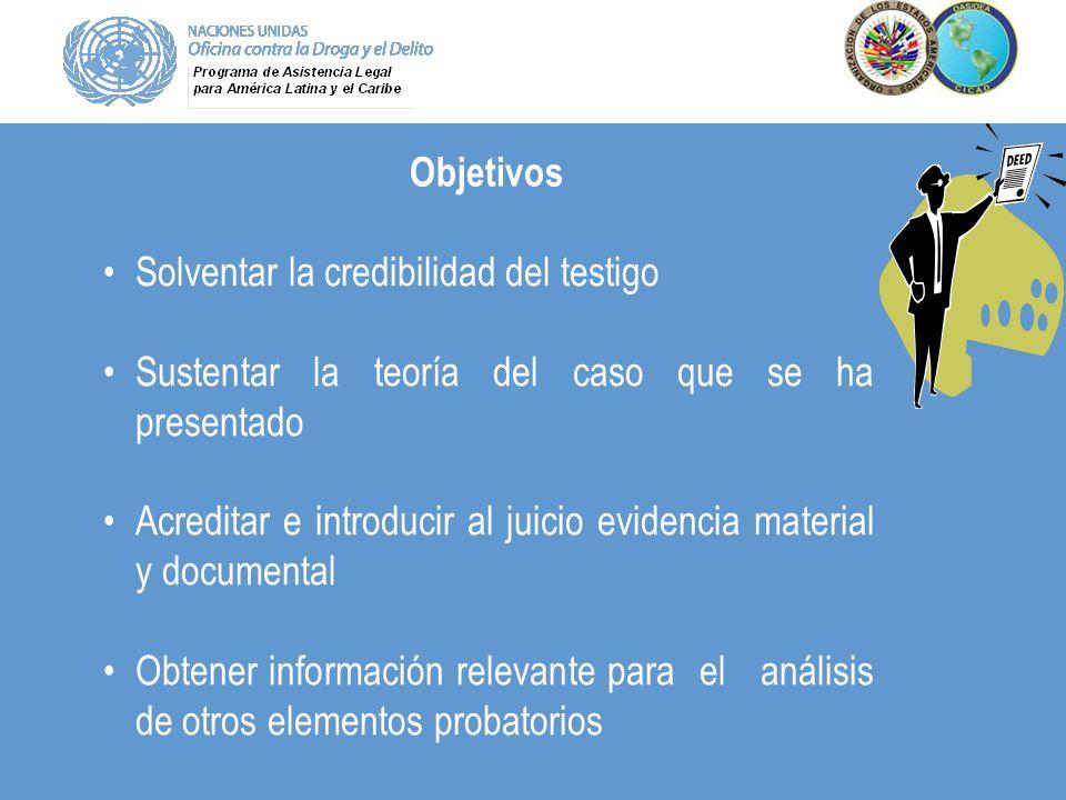 Objetivos Solventar la credibilidad del testigo. Sustentar la teoría del caso que se ha presentado.