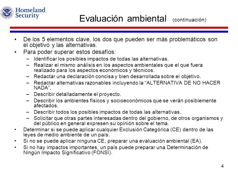 Evaluación ambiental (continuación)