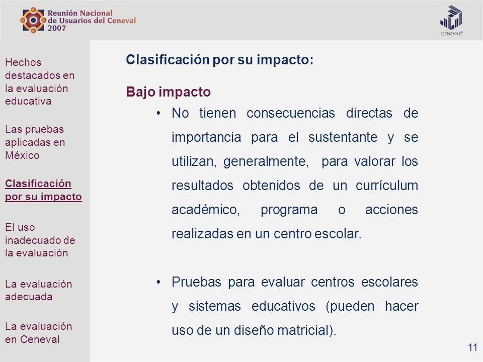 Clasificación por su impacto: Bajo impacto